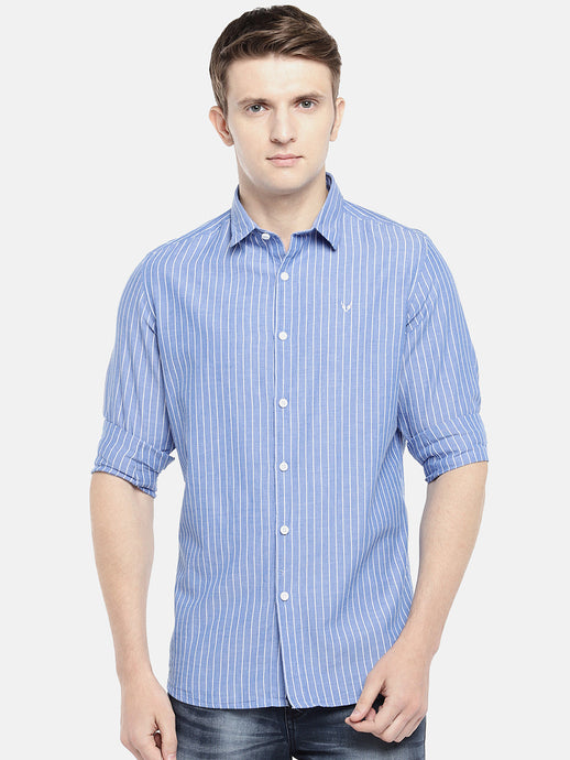 Blue & Off-White Regular Fit Striped Casual Shirt-1