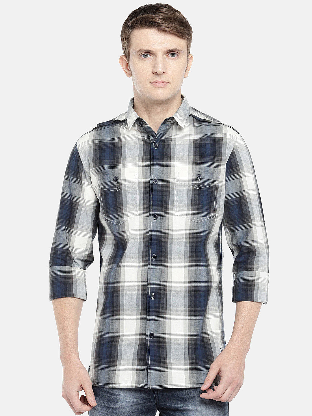 Grey & Navy Blue Regular Fit Checked Casual Shirt-1