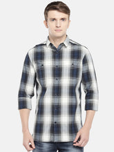 Load image into Gallery viewer, Grey & Navy Blue Regular Fit Checked Casual Shirt-1