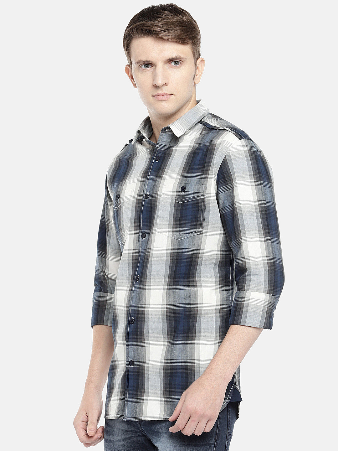 Grey & Navy Blue Regular Fit Checked Casual Shirt-2
