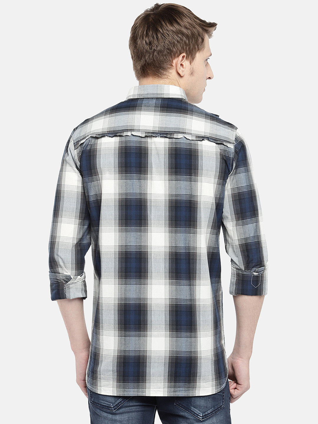 Grey & Navy Blue Regular Fit Checked Casual Shirt-3