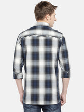 Load image into Gallery viewer, Grey & Navy Blue Regular Fit Checked Casual Shirt-3