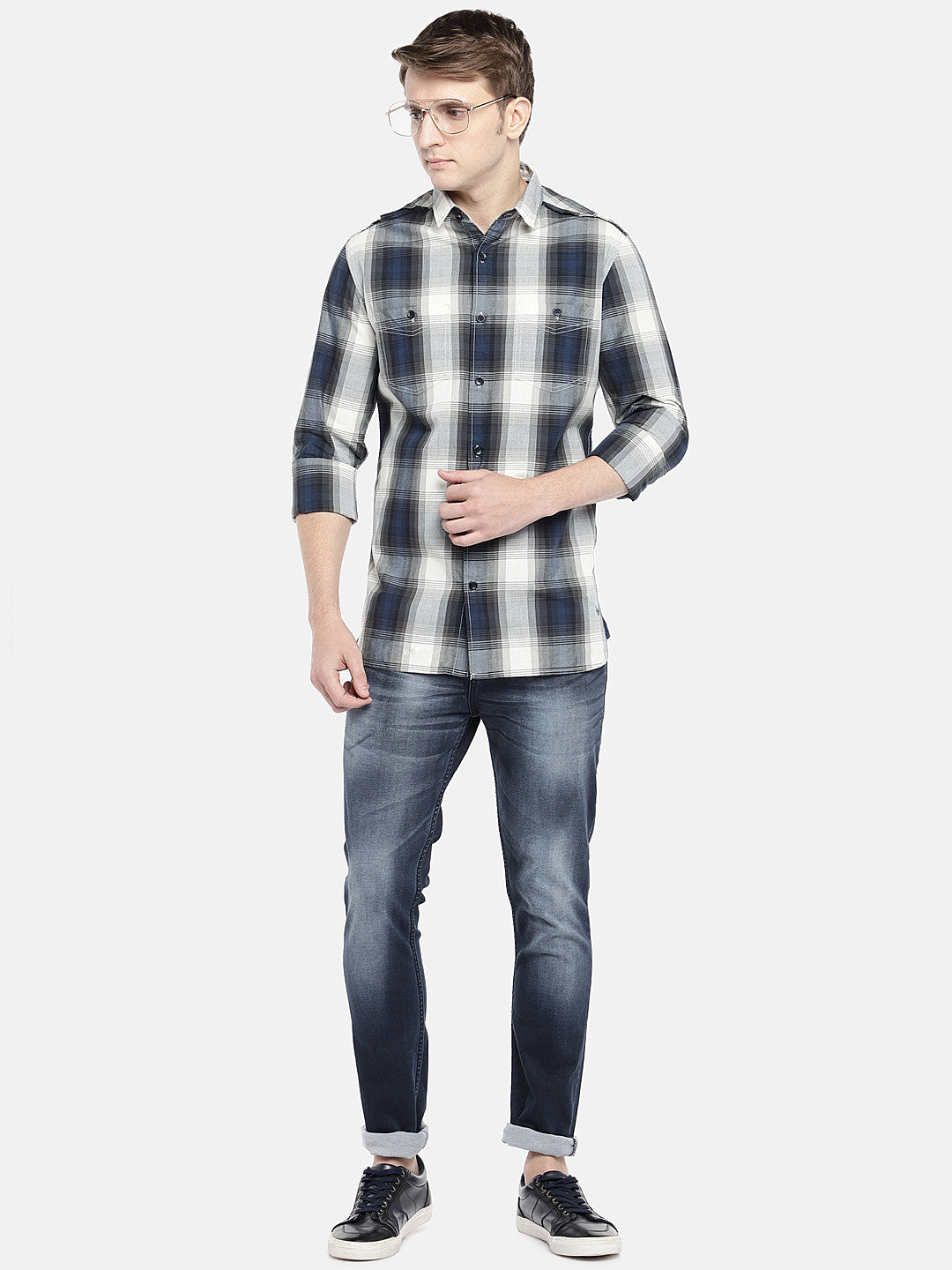 Grey & Navy Blue Regular Fit Checked Casual Shirt-4