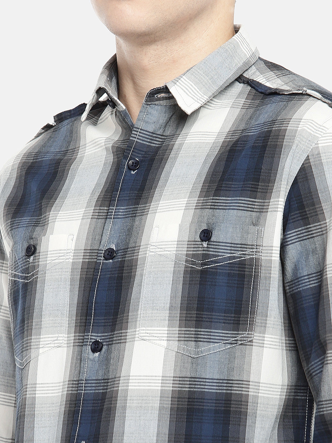 Grey & Navy Blue Regular Fit Checked Casual Shirt-5