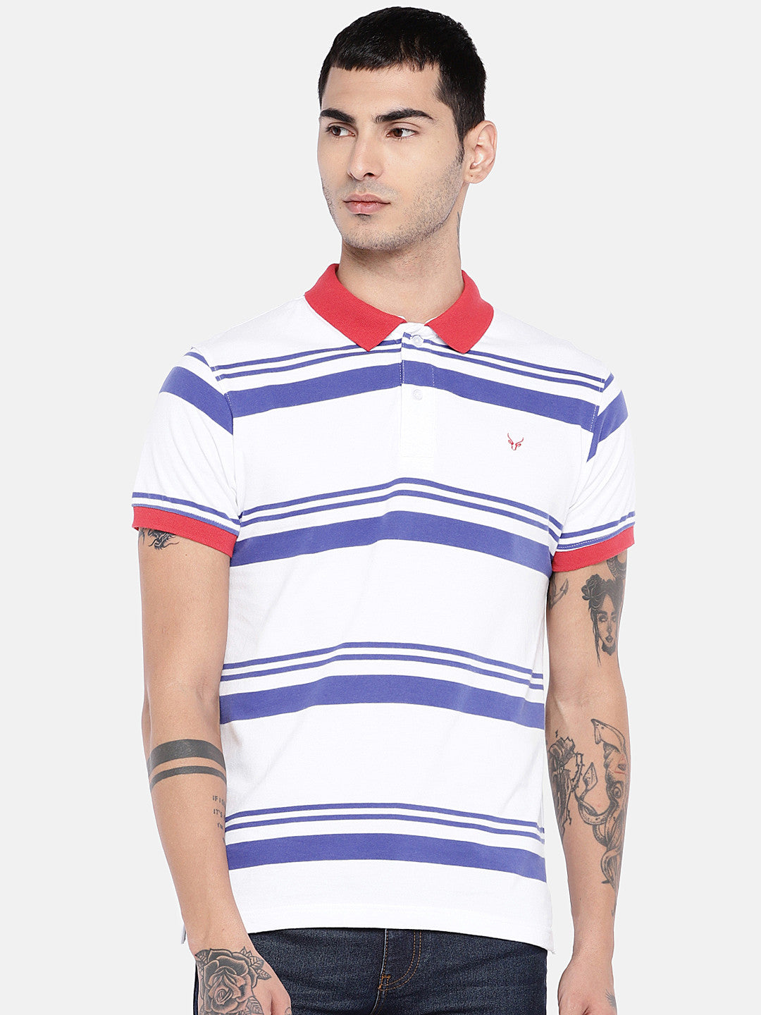 White Striped Polo Collar T-shirt-1