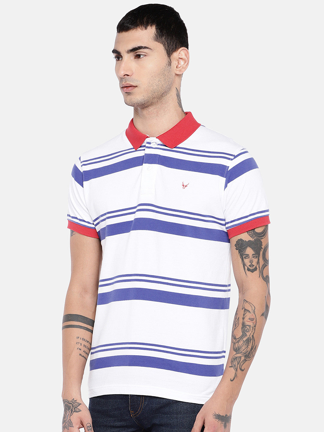 White Striped Polo Collar T-shirt-2