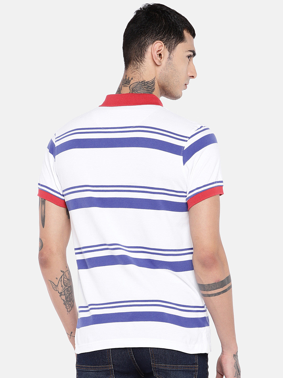 White Striped Polo Collar T-shirt-3
