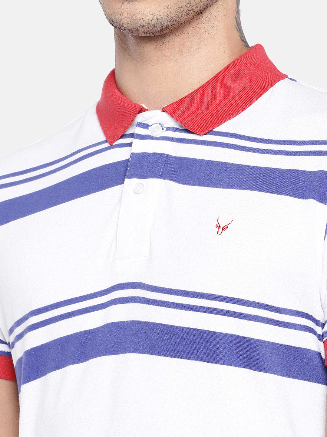White Striped Polo Collar T-shirt-5