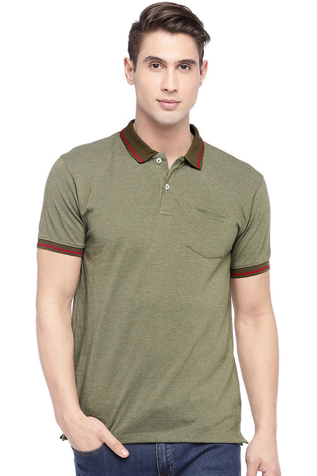 Olive Green Solid Polo Collar T-shirt-1