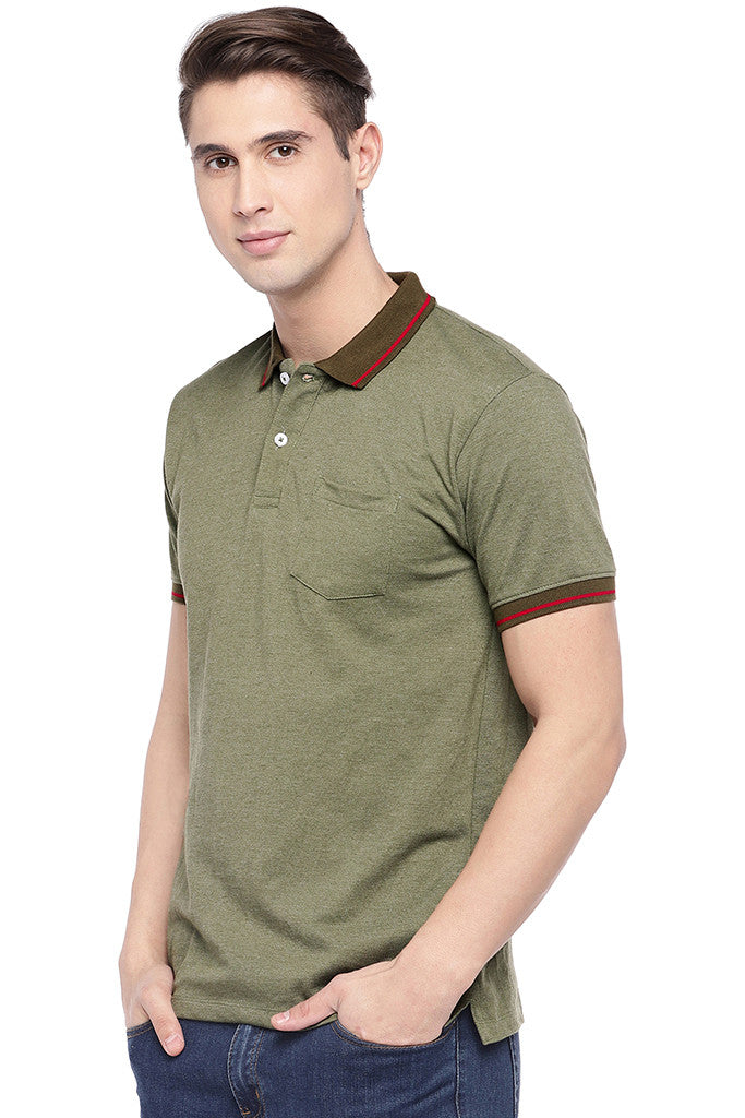 Olive Green Solid Polo Collar T-shirt-2