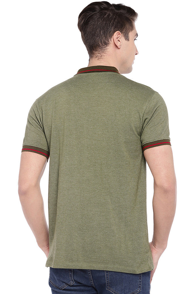 Olive Green Solid Polo Collar T-shirt-3