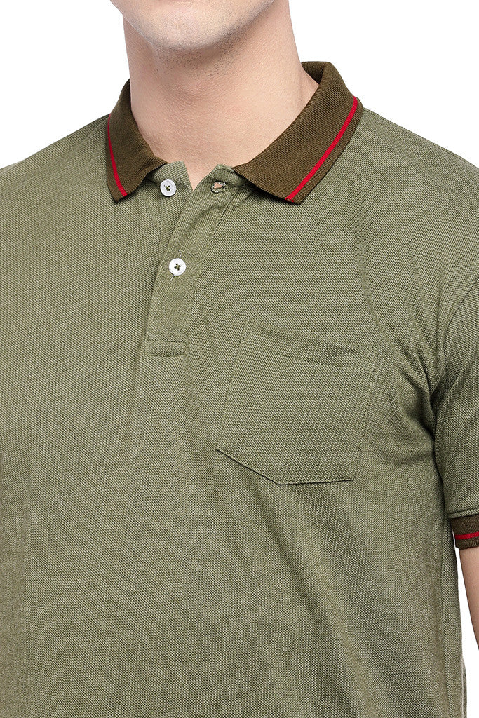 Olive Green Solid Polo Collar T-shirt-5