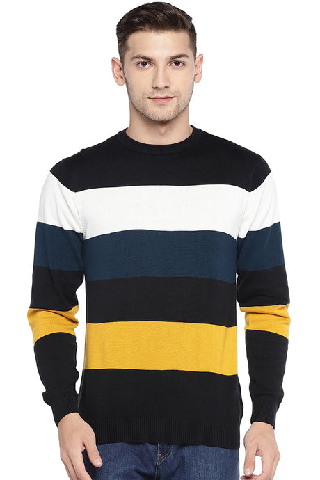 Multicoloured Striped Round Neck T-shirt-1
