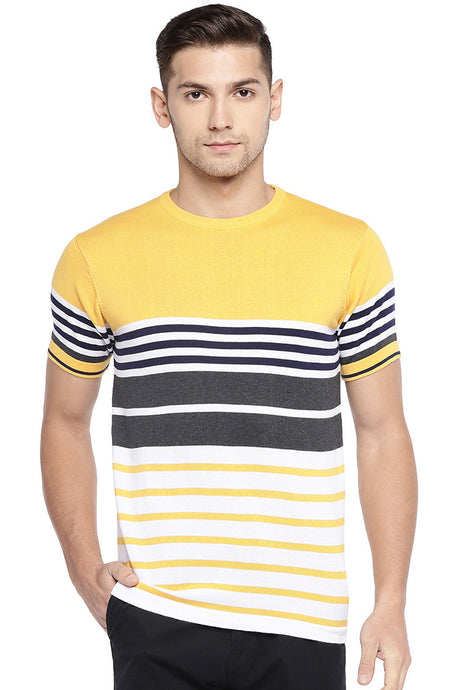 Yellow & White Striped T-shirt-1