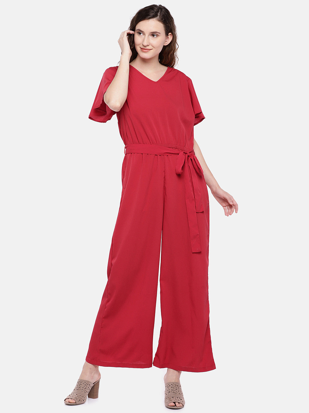 Red Solid Basic Jumpsuit-1