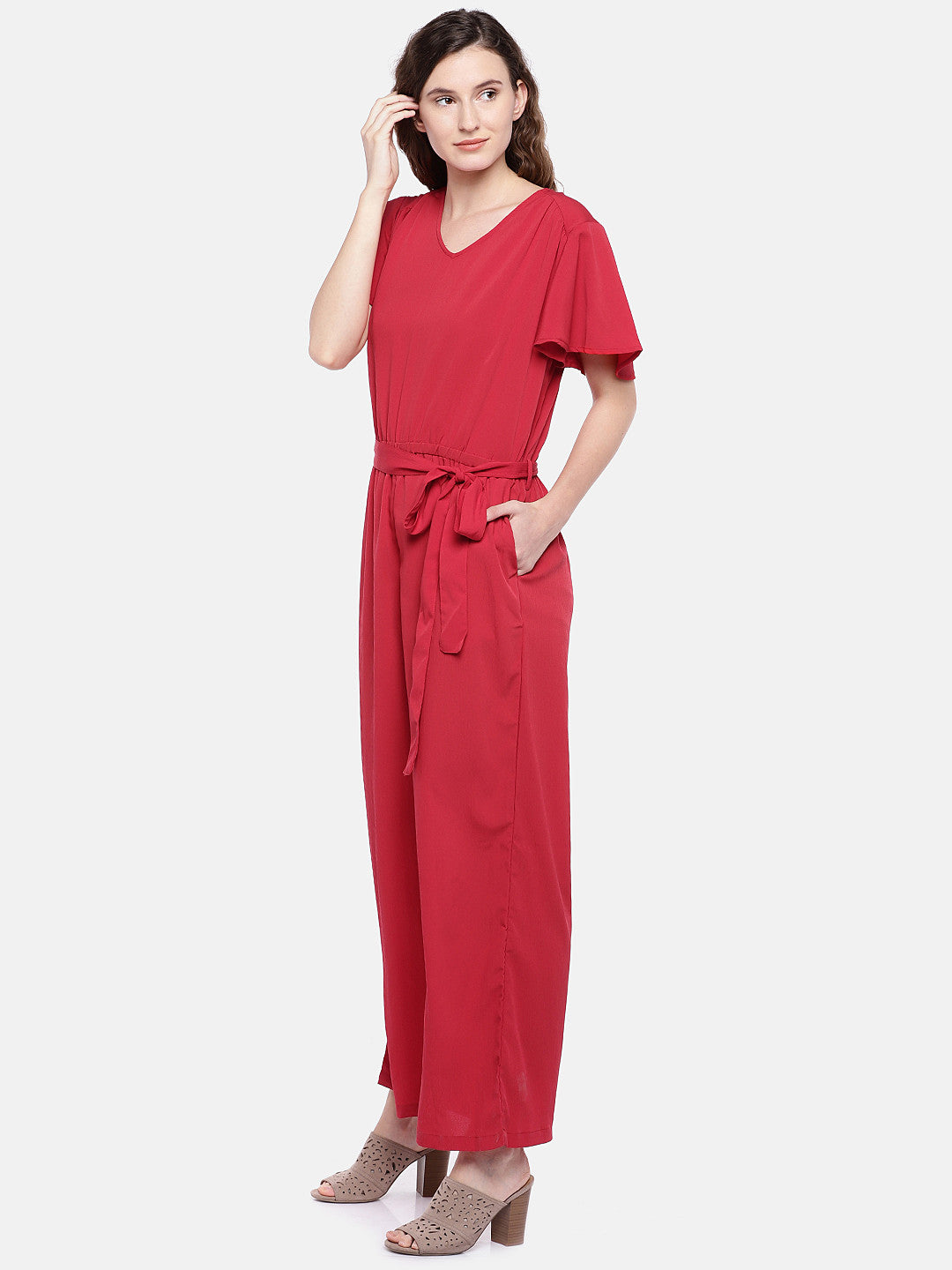 Red Solid Basic Jumpsuit-2