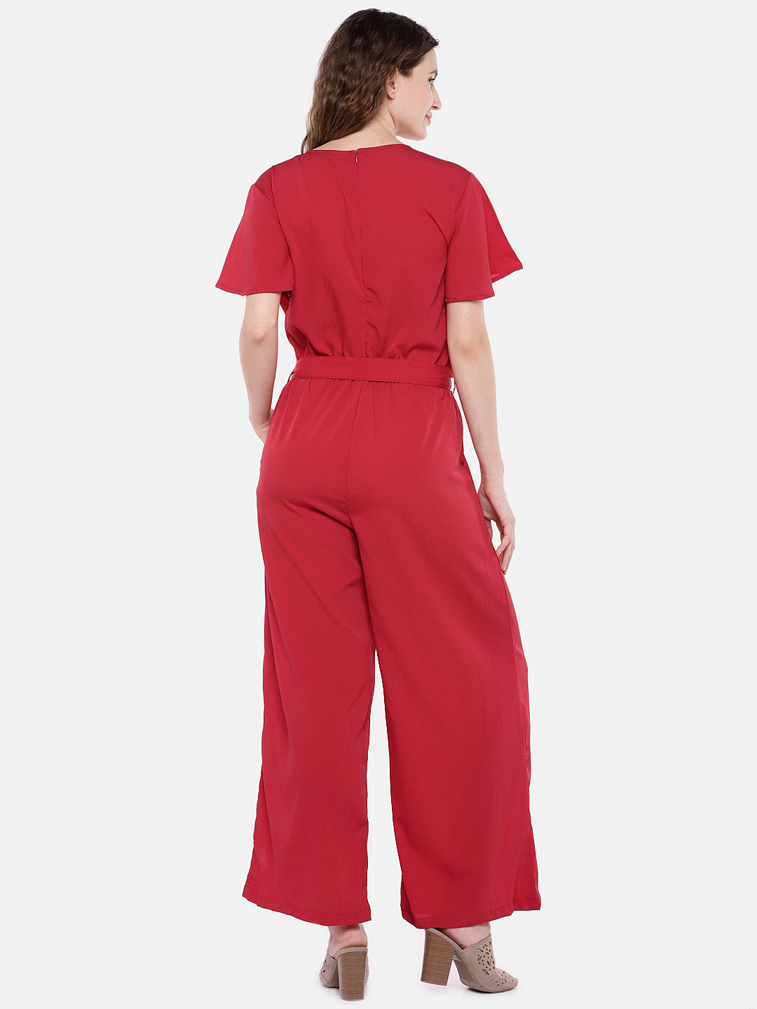 Red Solid Basic Jumpsuit-3