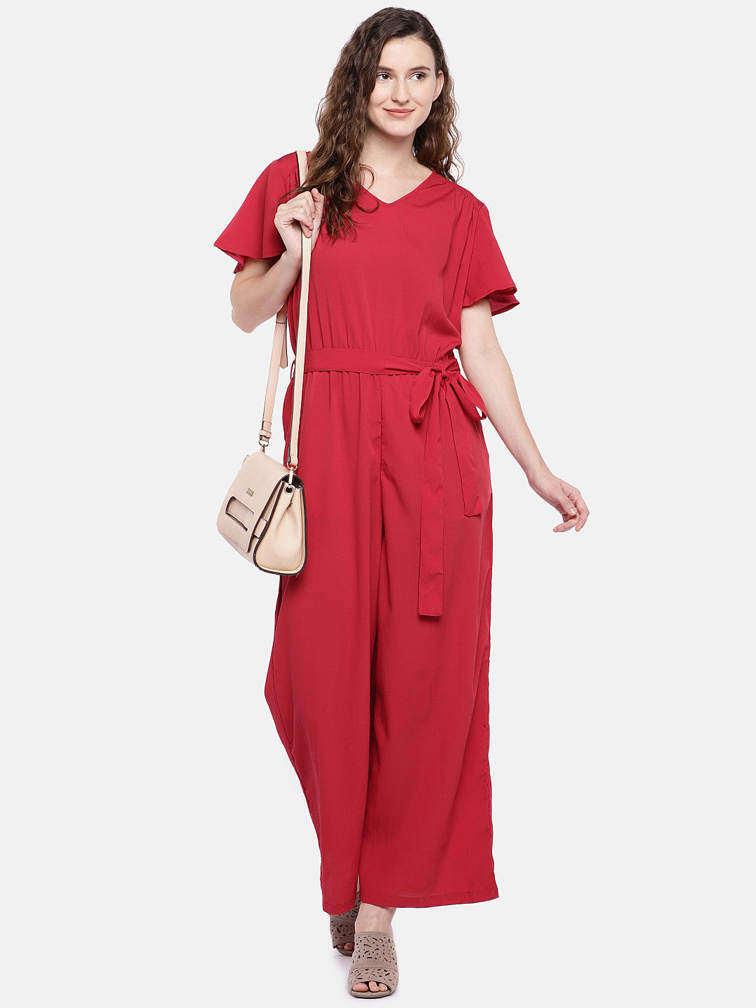 Red Solid Basic Jumpsuit-4