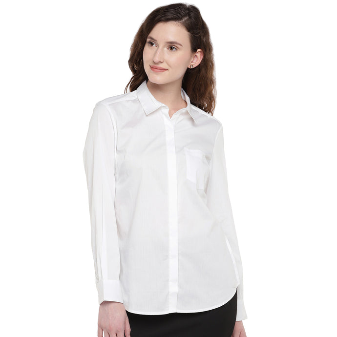 Women White Solid Casual Shirt-1