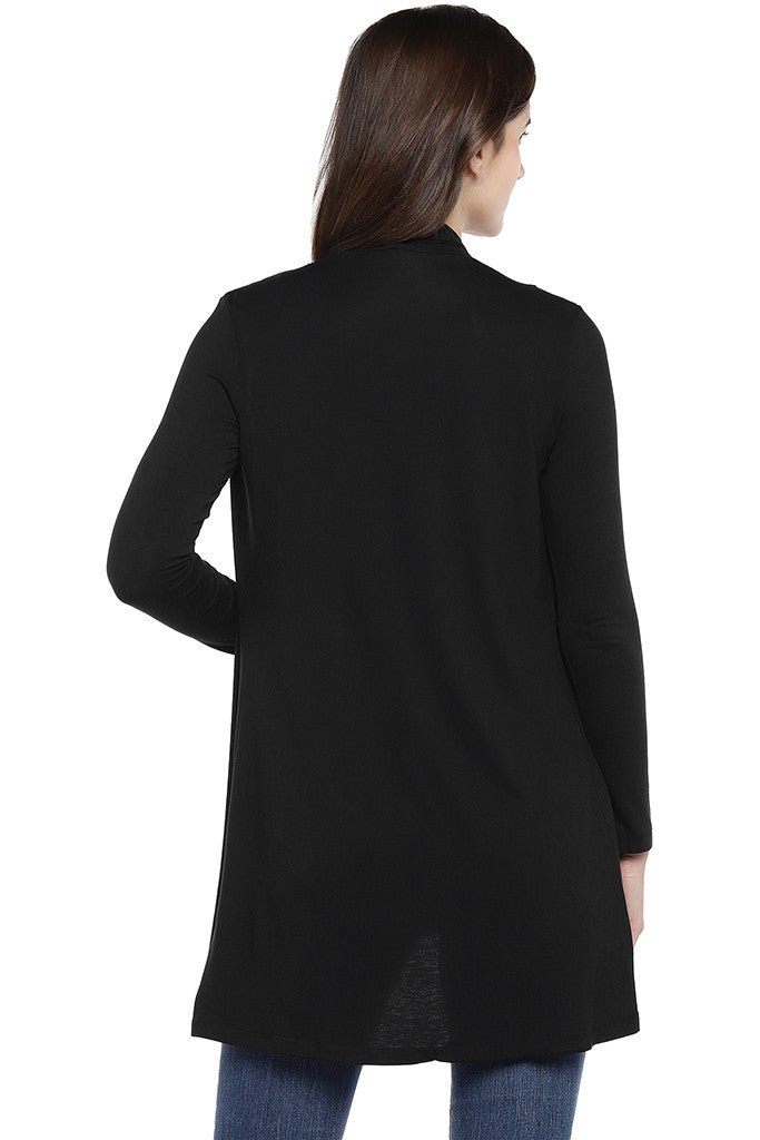 Black Solid Open Front Shrug-3