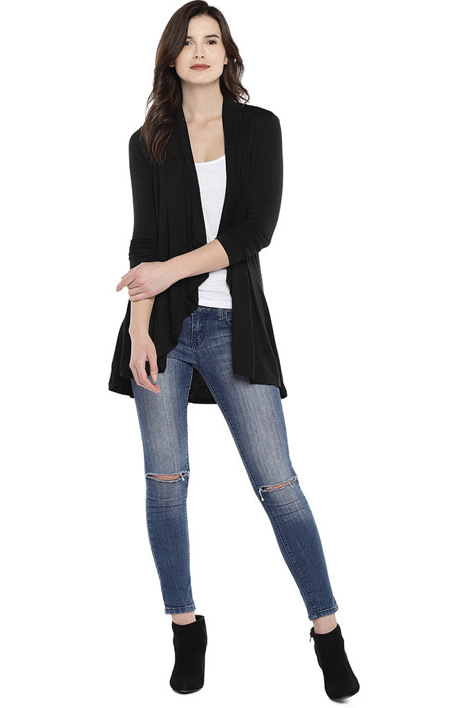 Black Solid Open Front Shrug-4