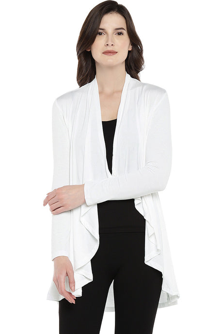 White Solid Open Front Shrug-1