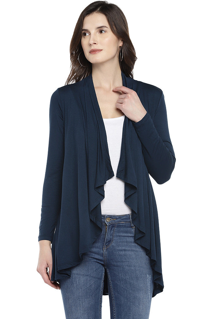 Navy Blue Solid Open Front Shrug-1