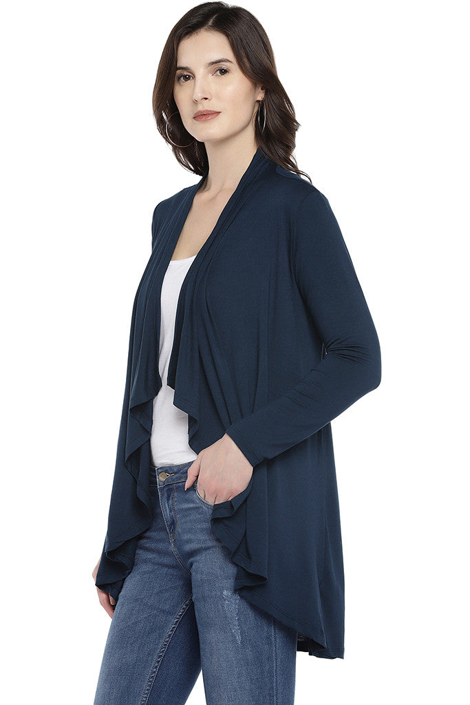 Navy Blue Solid Open Front Shrug-2