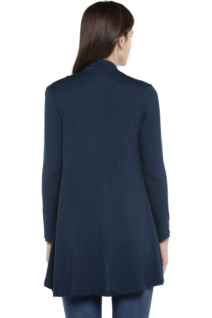 Navy Blue Solid Open Front Shrug-3