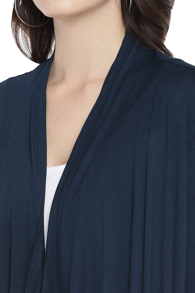 Navy Blue Solid Open Front Shrug-5