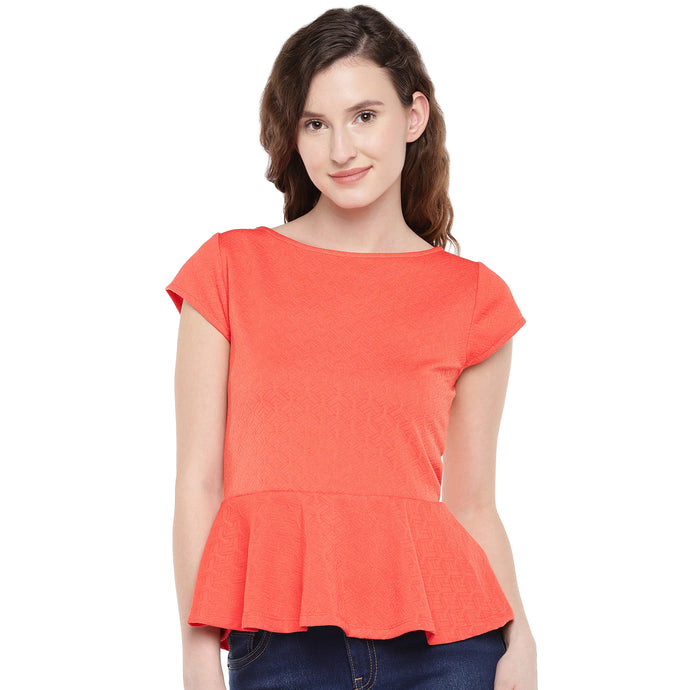 Women Coral Orange Solid Peplum Top-1