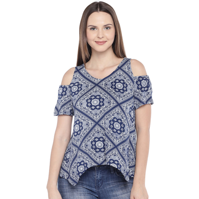 Navy Blue Printed Top-1