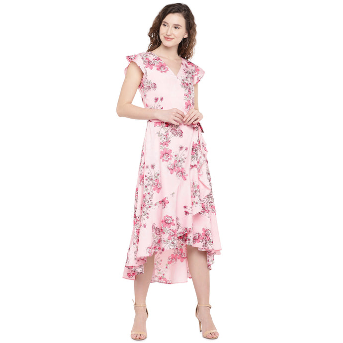Women Peach-Coloured Floral Printed Wrap Dress-1