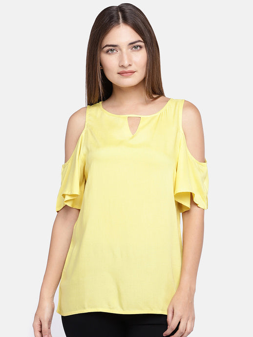 Women Yellow Solid Top-1