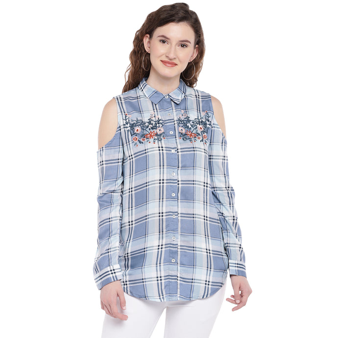 Blue & Off-White Regular Fit Checked Casual Shirt-1