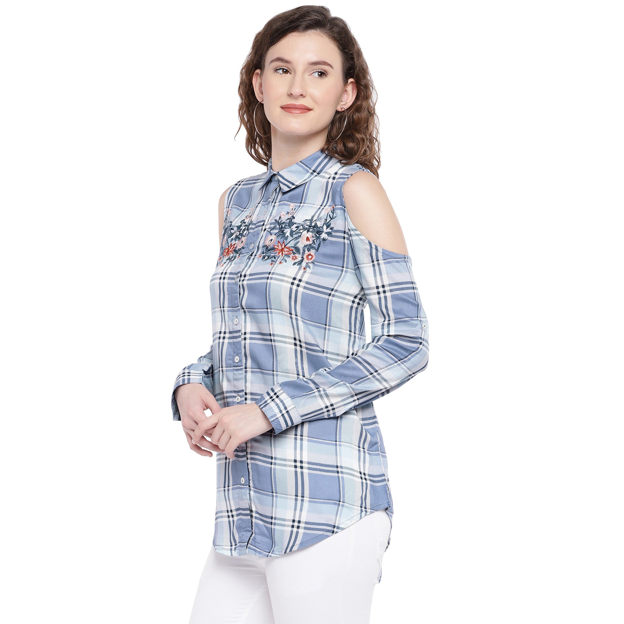 Blue & Off-White Regular Fit Checked Casual Shirt-2