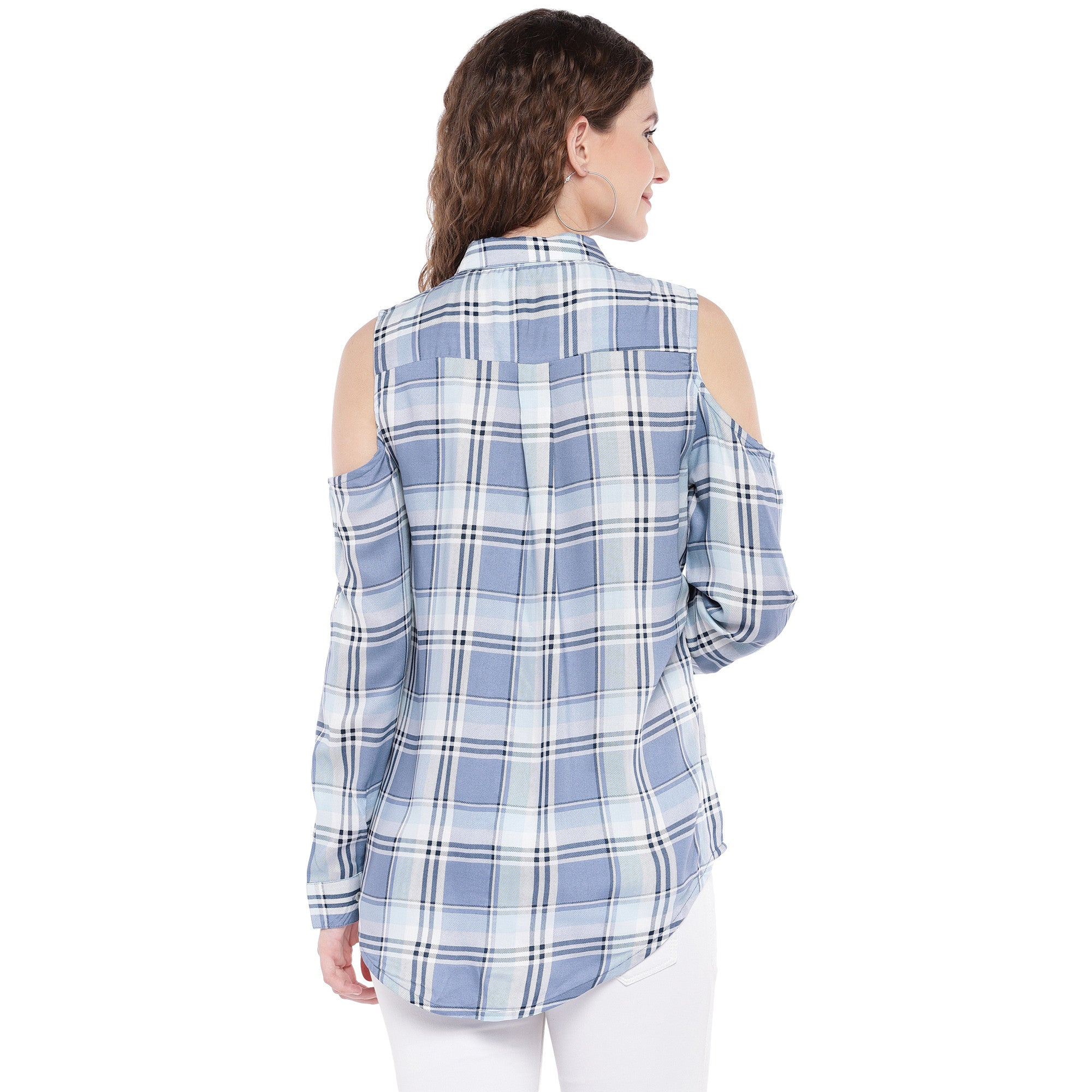 Blue & Off-White Regular Fit Checked Casual Shirt-3