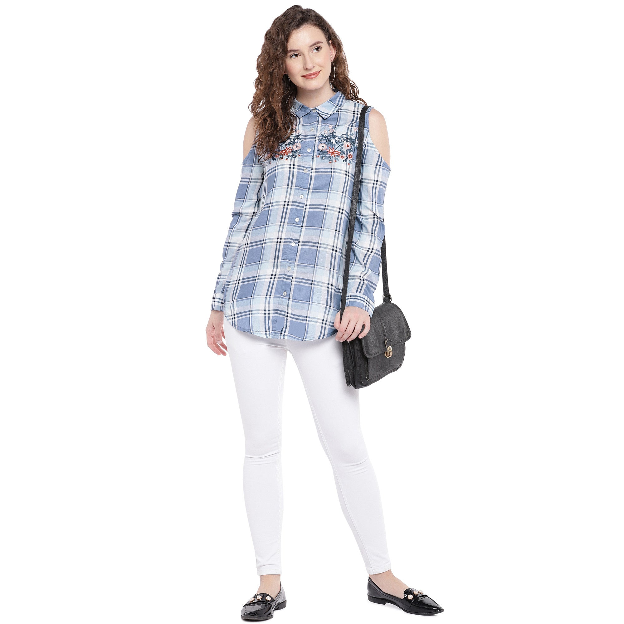Blue & Off-White Regular Fit Checked Casual Shirt-4