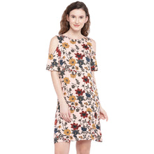 Load image into Gallery viewer, Peach-Coloured & Red Printed Sheath Dress-1