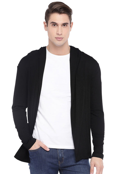 Black Solid Hooded Front-Open Shrug-1