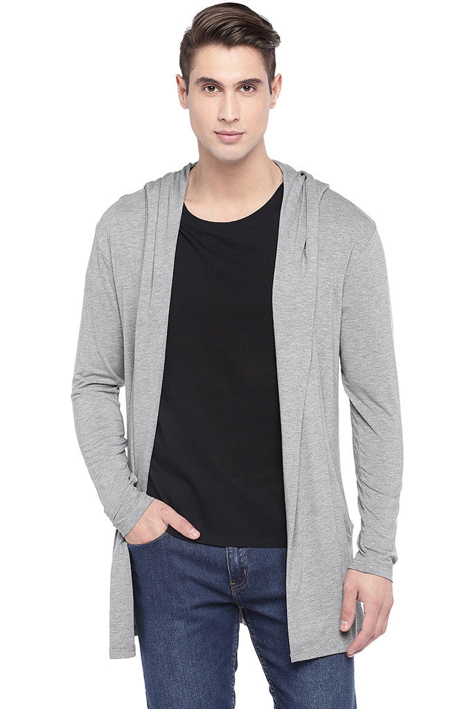 Grey Solid Open Front Shrug-1