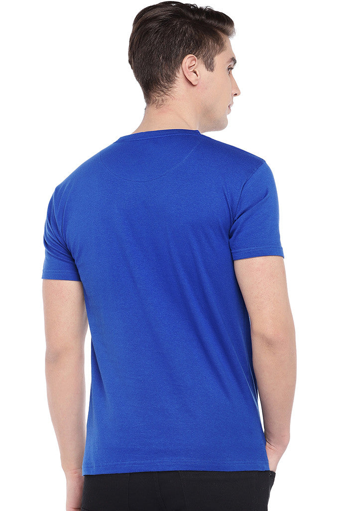 Blue Printed Round Neck T-shirt-3