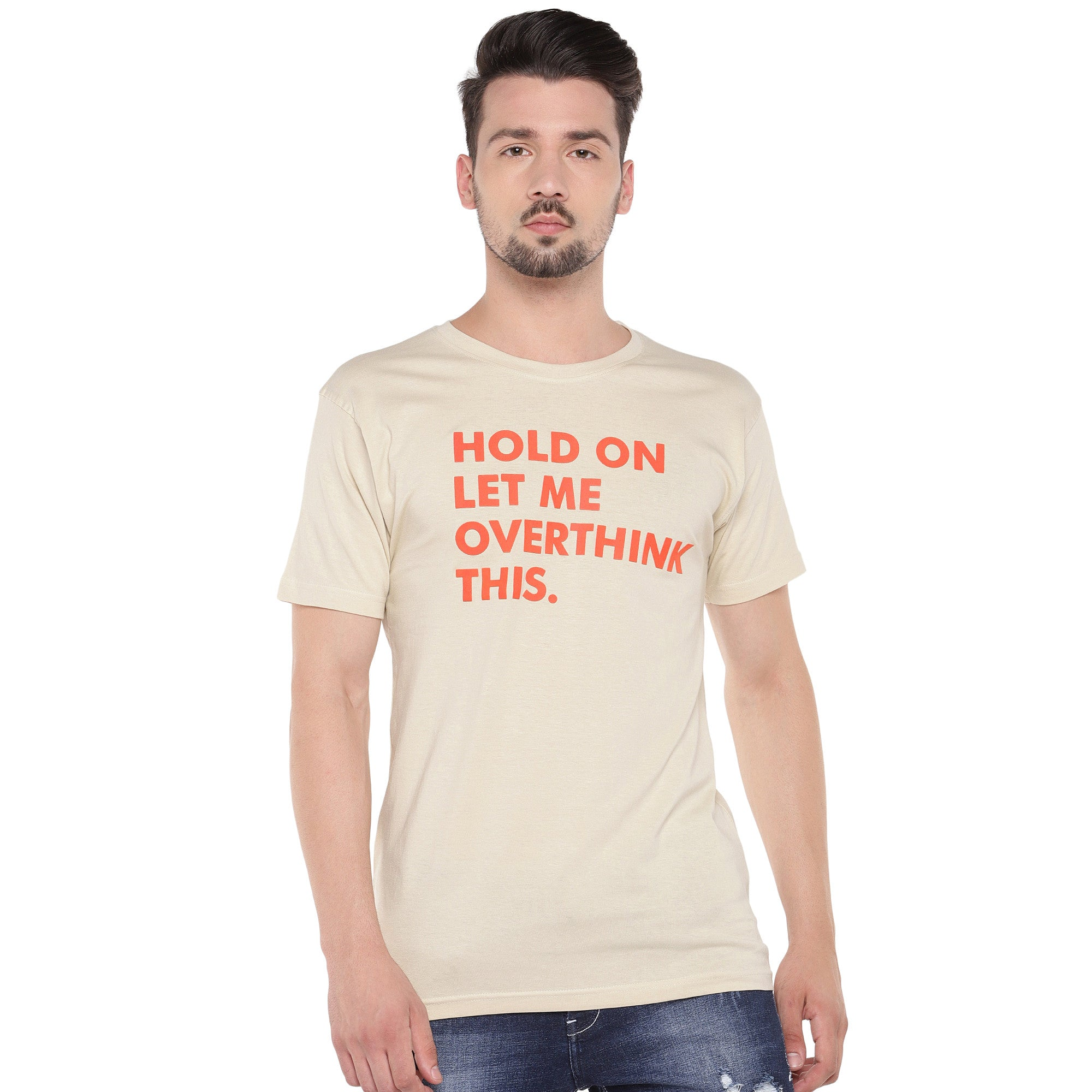 Men Cream-Coloured Printed Round Neck T-shirt-1