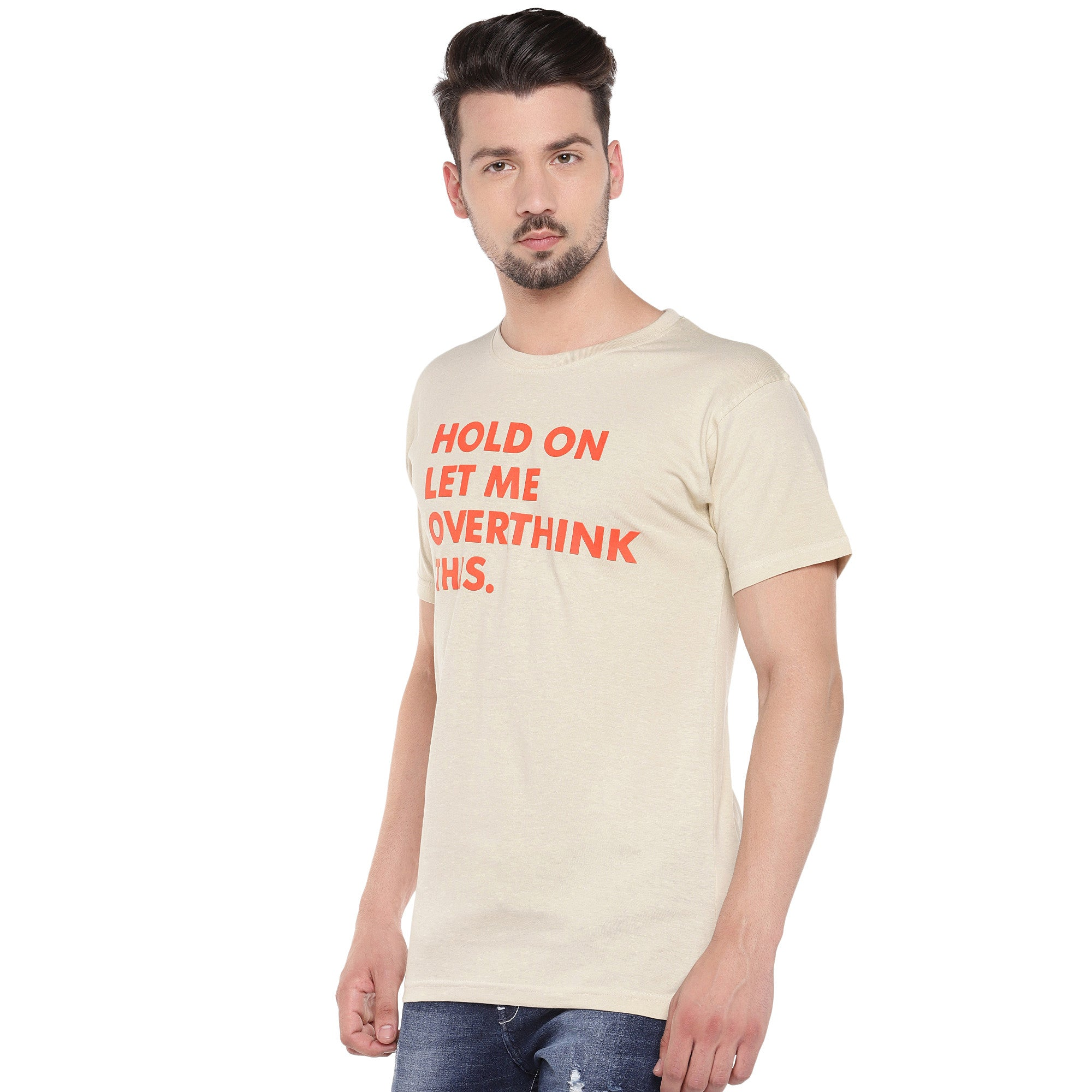 Men Cream-Coloured Printed Round Neck T-shirt-2