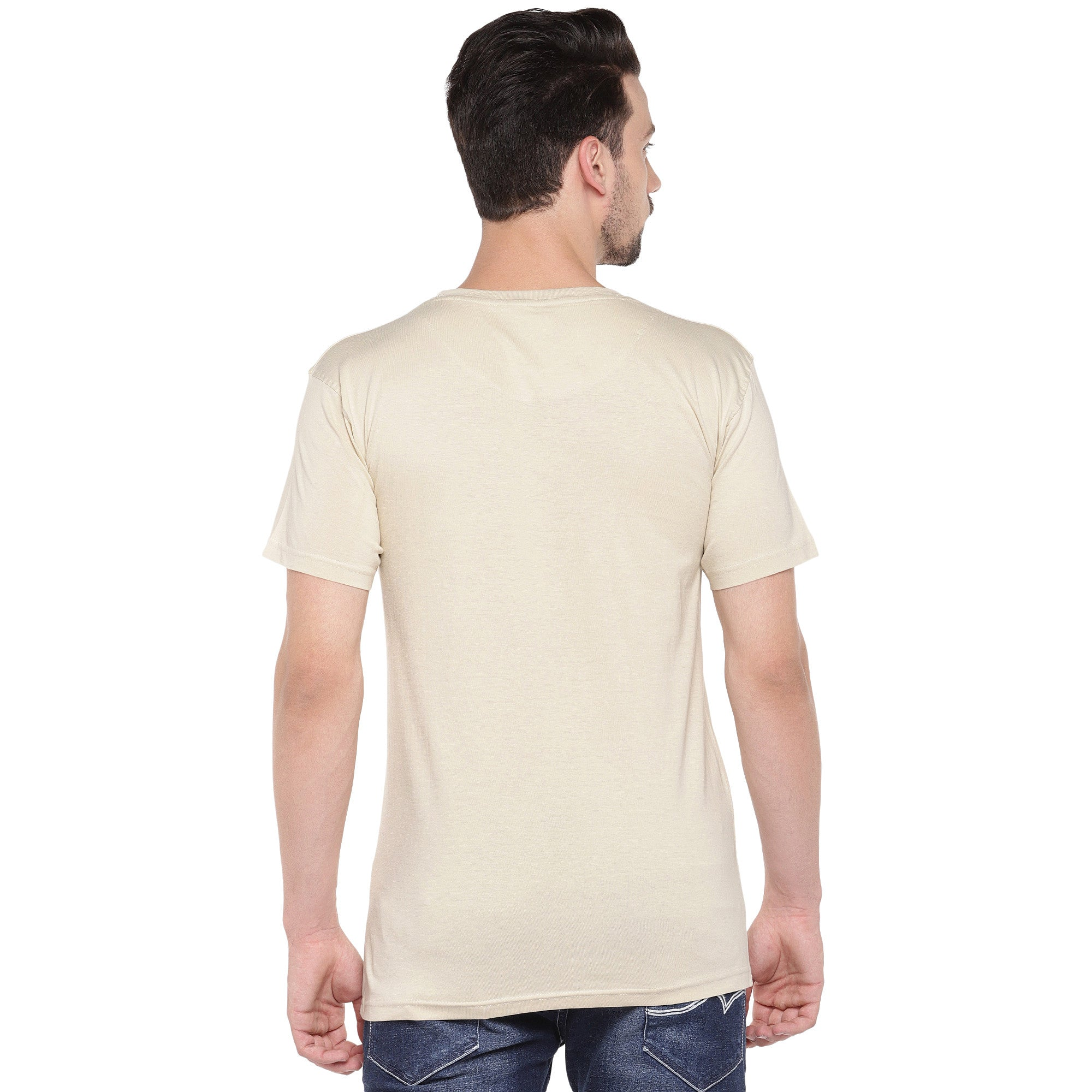Men Cream-Coloured Printed Round Neck T-shirt-3