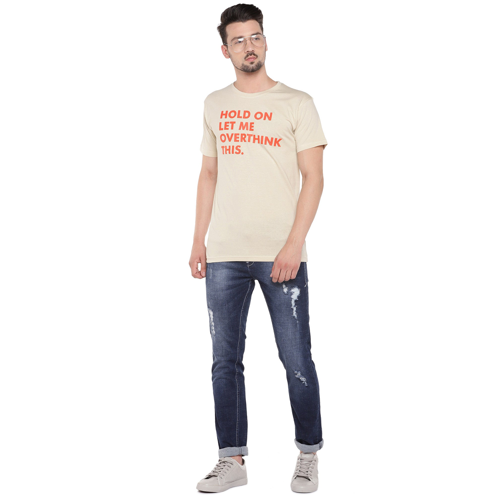 Men Cream-Coloured Printed Round Neck T-shirt-4