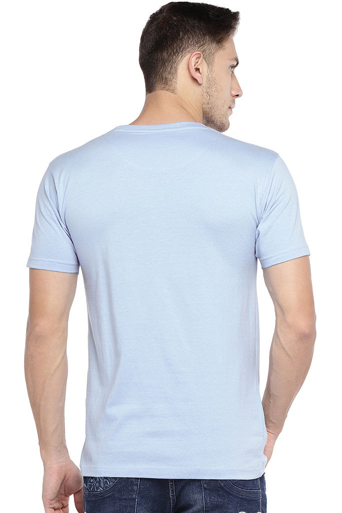 Blue Printed Crew Neck T-shirt-3