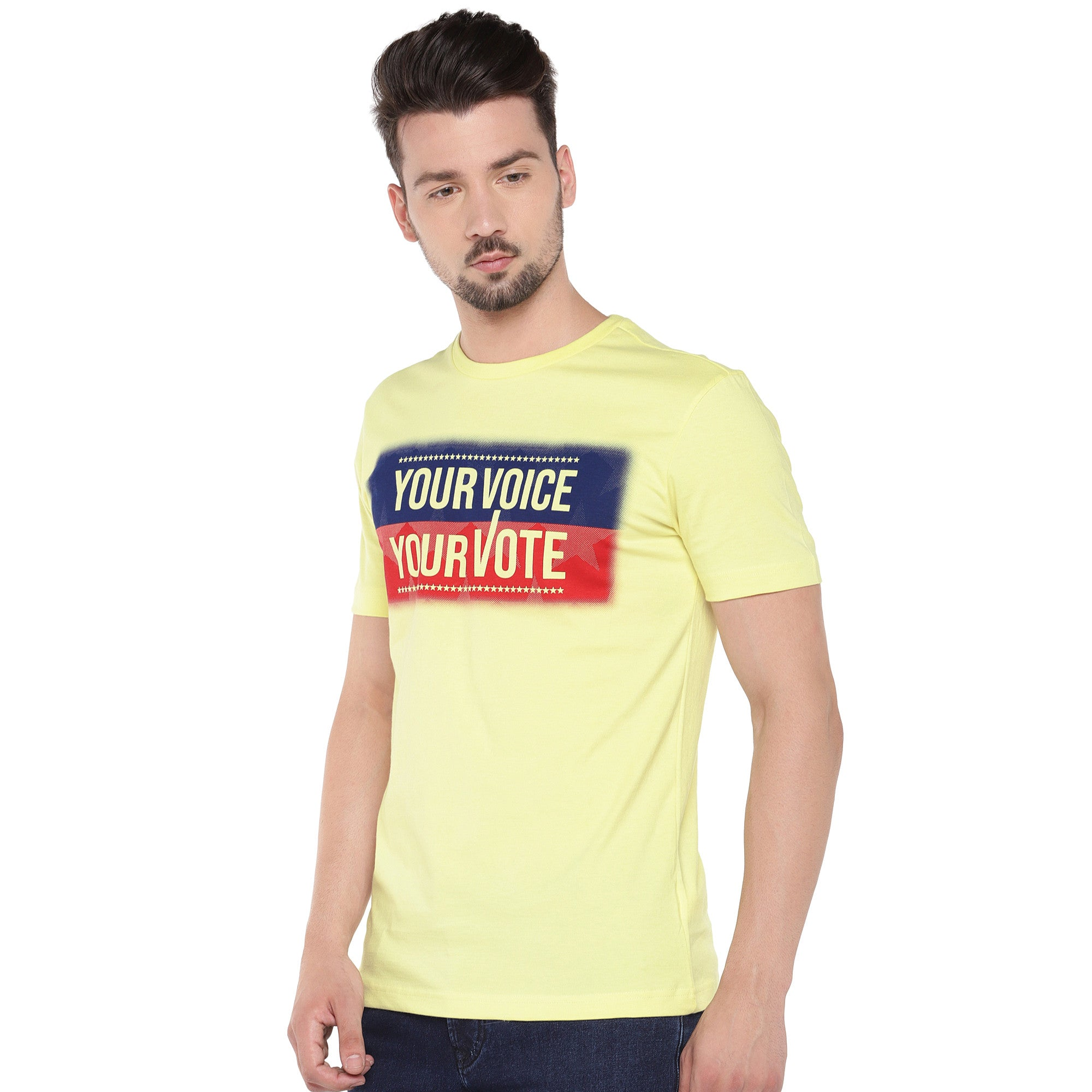 Men Yellow Printed Round Neck T-shirt-2