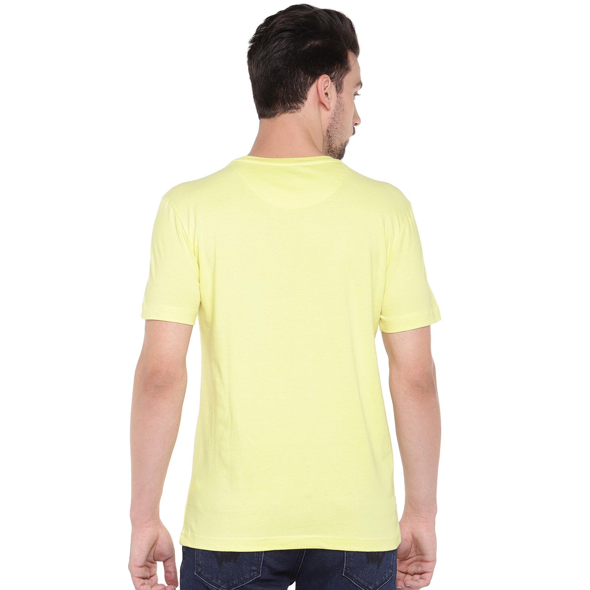 Men Yellow Printed Round Neck T-shirt-3