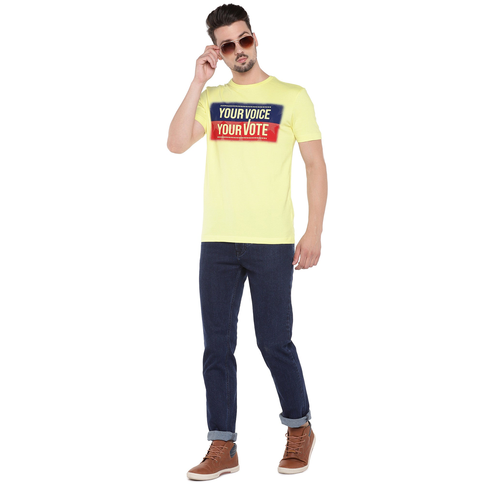 Men Yellow Printed Round Neck T-shirt-4